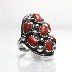 Vintage Native American Coral Cluster Ring - Greg DeMark