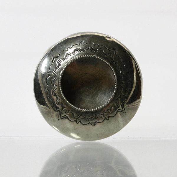 Miniature Navajo Sterling Silver Seed Pot By Jeffrie Castillo - Greg DeMark
