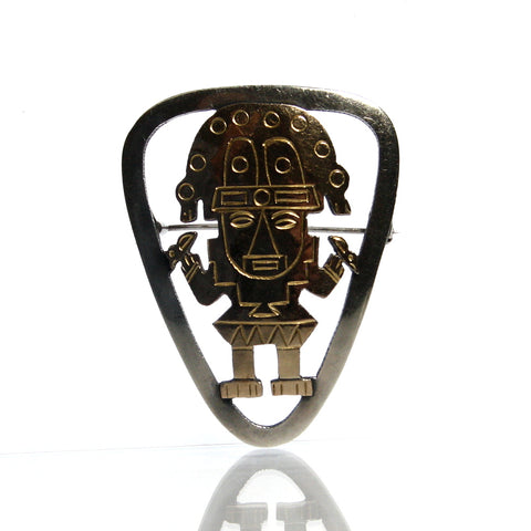 Vintage Peruvian 18k And Sterling Silver Pendant Brooch Old Cuzco Peru - Greg DeMark