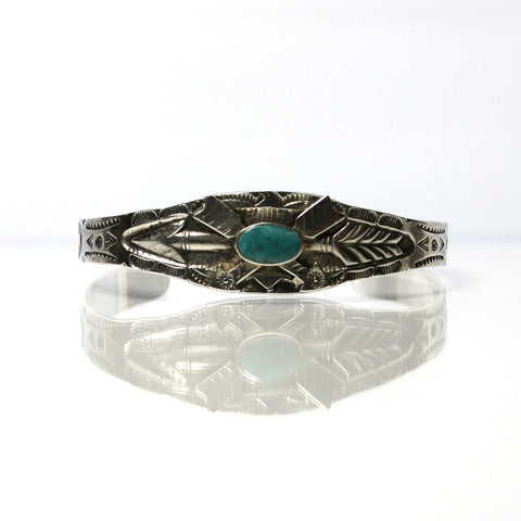 Old Fred Harvey Era Turquoise Bracelet With Arrows And Stamp Work - Greg DeMark