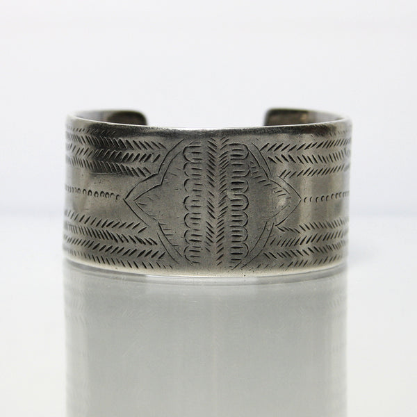 Antique Silver Tribal Cuff Bracelet Hand Engraved - Greg DeMark