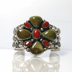 Vintage Navajo Royston Turquoise And Coral Bracelet - Greg DeMark