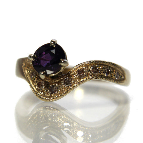 Purple Sapphire Engagement Ring 14k Gold Two Tone Size 6.5 - Greg DeMark