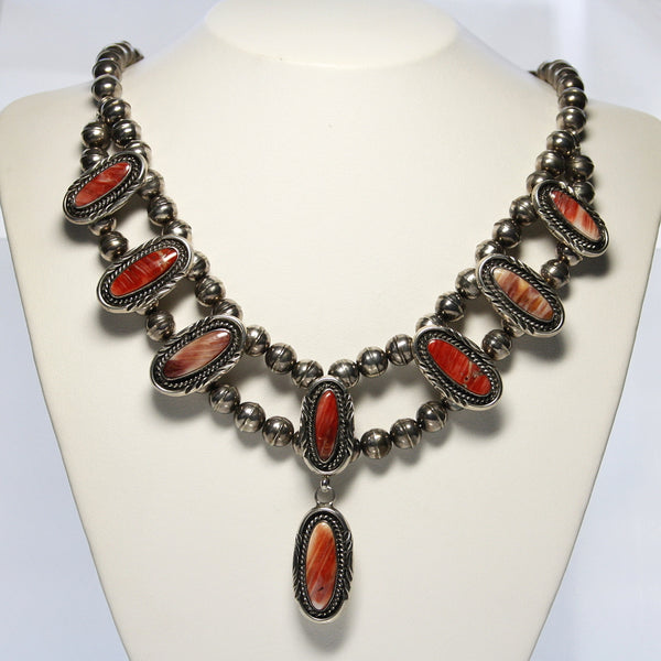 Ray Delgarito Navajo Sterling And Spiny Oyster Necklace - Greg DeMark