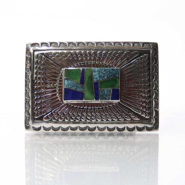 Signed Southwestern Sterling Silver Belt Buckle With Number 8 Turquoise Lapis And Jade - Greg DeMark
