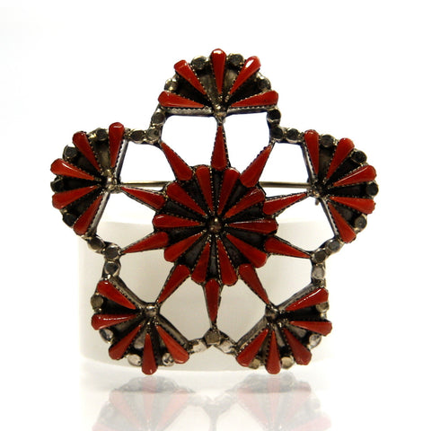 Zuni Petit Point Coral Pendant Brooch B. Laate - Greg DeMark