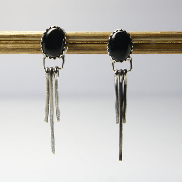 Vintage Black Onyx Earrings Southwestern Sterling Silver - Greg DeMark