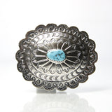 Vintage Navajo Sterling Silver Turquoise Belt Buckle By Marcella James - Greg DeMark
