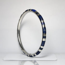 Vintage Sterling Silver Bangle Bracelet With Lapis Lazuli Inlay - Greg DeMark