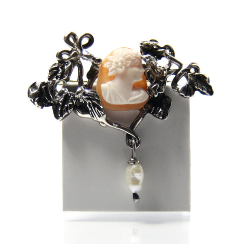 Vintage Shell Cameo Brooch Sterling Silver With Freshwater Pearl Drop - Greg DeMark
