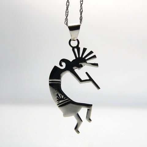 Vintage Southwestern Kokopelli Flute Player Sterling Silver Necklace - Greg DeMark