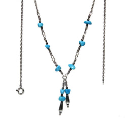 Vintage Southwestern Turquoise And Sterling Silver Lariat Necklace - Greg DeMark