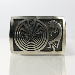 Hopi Sterling Silver Overlay Kokopelli Belt Buckle By Steven Sockyma - Greg DeMark