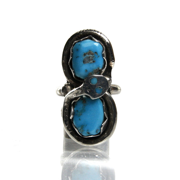 Zuni Turquoise Snake Ring By Effie Calavaza - Greg DeMark