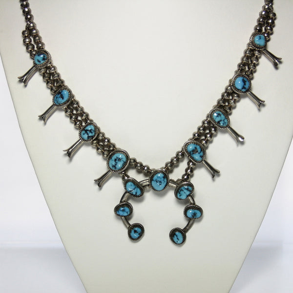 Southwestern Sterling Silver And Turquoise Squash Blossom Necklace - Greg DeMark
