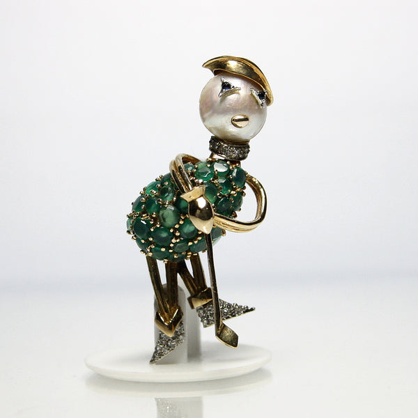 Vintage Golfer Brooch 18K Gold Emeralds Diamonds Pearl And Sapphires - Greg DeMark