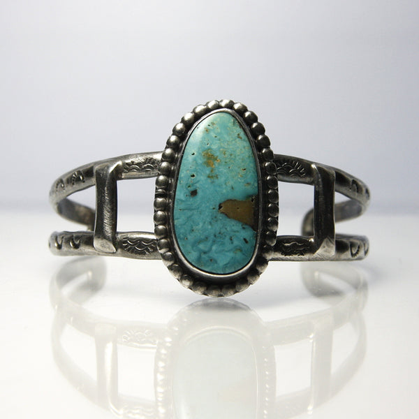 Southwestern Silver Cuff Bracelet With Chrysocolla And Old Navajo Stamp Work - Greg DeMark