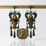 Vintage Mexican Silver Tribal Mask Pierced Earrings - Greg DeMark