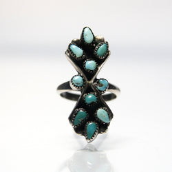 Vintage Sterling Silver Native American Turquoise Ring Size 2 1/4 - Greg DeMark