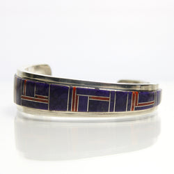 Navajo Cuff Bracelet With Gemstone Inlay By Wilber Yazzie - Greg DeMark
