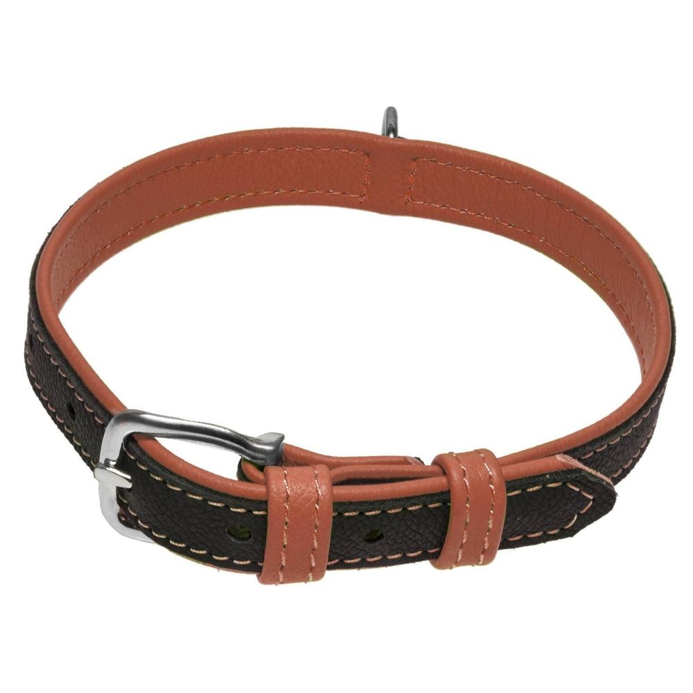 Dogline Soft Leather Dual-Color Flat Collar