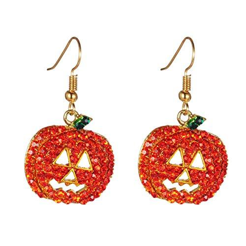 Halloween Pumpkin Earrings Red - Hypoallergenic Crystal Dangle Earring for Women Girls Kids Holiday Night Costume Jewelry Smiling Face Pumpkin Drop Earrings, Fun and Festive, with Free Jewelry Box