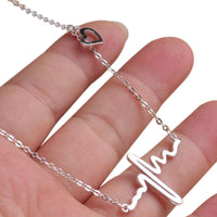 Women EKG Necklace Heartbeat Rhythm with Love Heart Shaped (Silver)