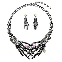 Halloween Earrings Necklace Set - Skull Skeleton Hand Gothic Punk Crystal Drop Earrings Statement Necklace Costume Jewelry for Women Girl with 1 Dangle Earrings 1 Chunky Choker Necklace Hypoallergenic