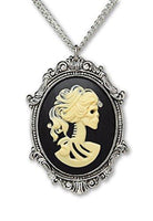 Gothic Lolita Skull Cameo in Pewter Frame Pendant Necklace