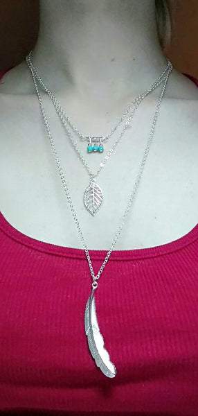 3 Layer Long Leaf Pendant