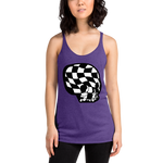 "alan evergreen ""checkered skull bnw"" women's racerback tank"
