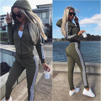 2 Piece Women's Sports Suit Top and Pants Set
