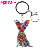 Bonsny Acrylic Dog Jewelry Chihuahua Dog Key Chain