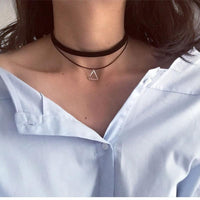 Multi Layer Choker Necklace Triangle Geometric Pendant