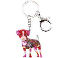 Bonsny Enamel Jack Russell Dog Key Chain