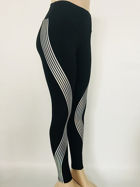 Reflective Leggings Glow in the Dark Stripes