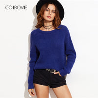 Knitted Waffle Sweater - Blue