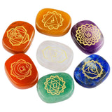 Chakra Healing Polished Engraved Crystal Stones, Set of 7