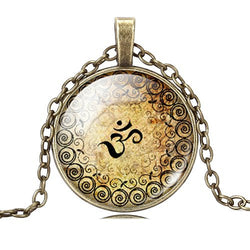 OM Yoga Glass Cabochon Necklace