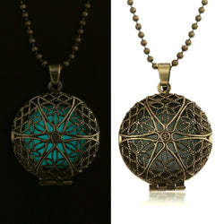 Antique Gold Locket Flower of Life Pendant Necklace (Glows in the dark!)