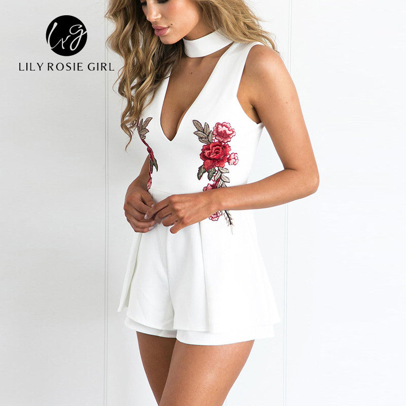 bbaac3b8beb 2017 Autumn Elegant V Neck Rose Florla Embroidery Women Playsuits  Sleeveless White Winter Rompers Jumpsuits Casual