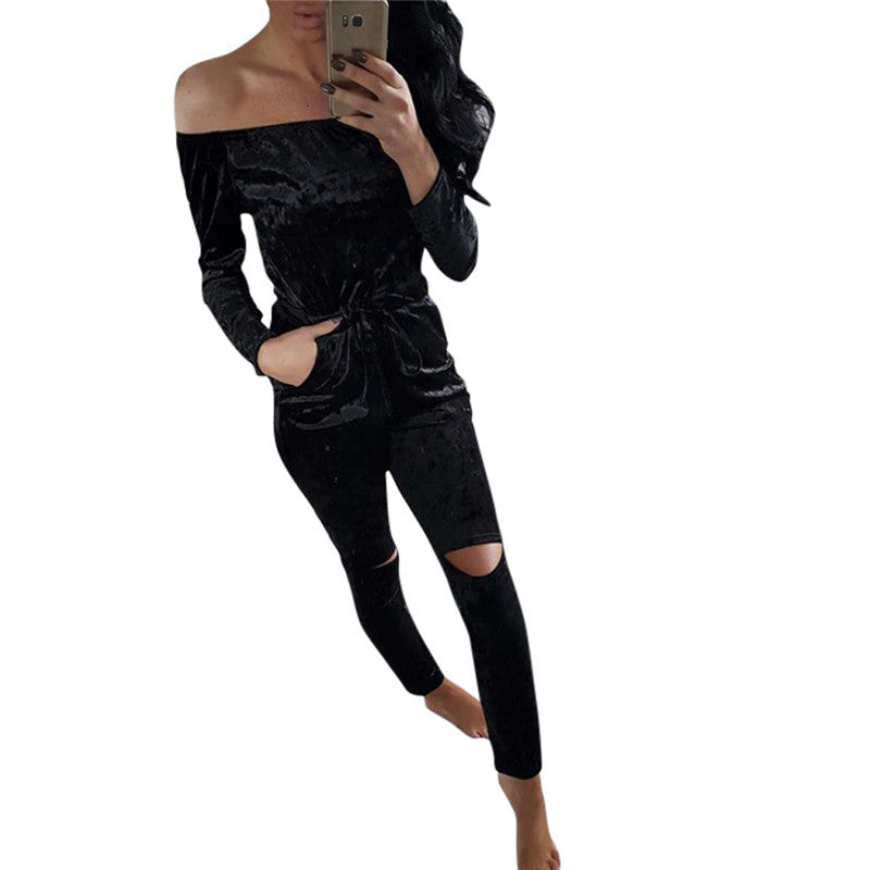 2017 Fashion Bodysuit Womens Shiny Velvet Off Shoulder Jumpsuit