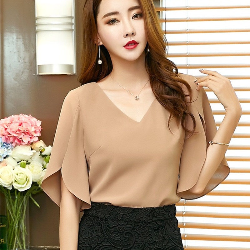 2642a2c5e86d 2017 New Arrival women Summer Chiffon Blouses V-neck Short Butterfly Sleeve  Shirts Solid Color Casual Style Women s Blouse Tops - Women s Blouses    Shirts