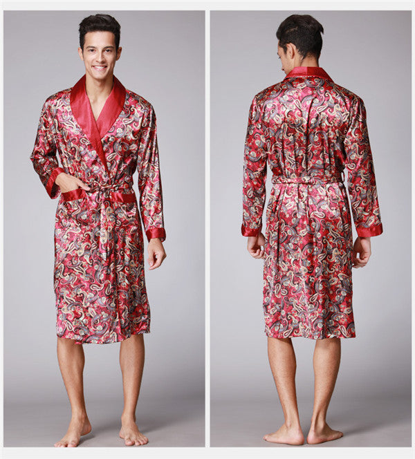 2017 spring summer new luxury print silk robe male bathrobe mens ...