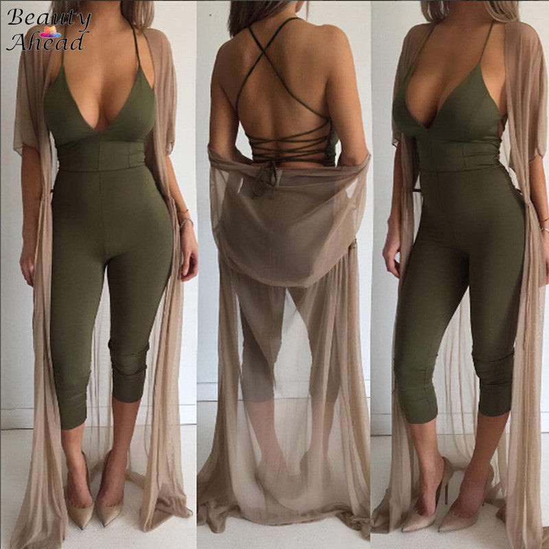 3 Colors Tight Fitted Jumpsuits For Women 2017 Summer Solid Color