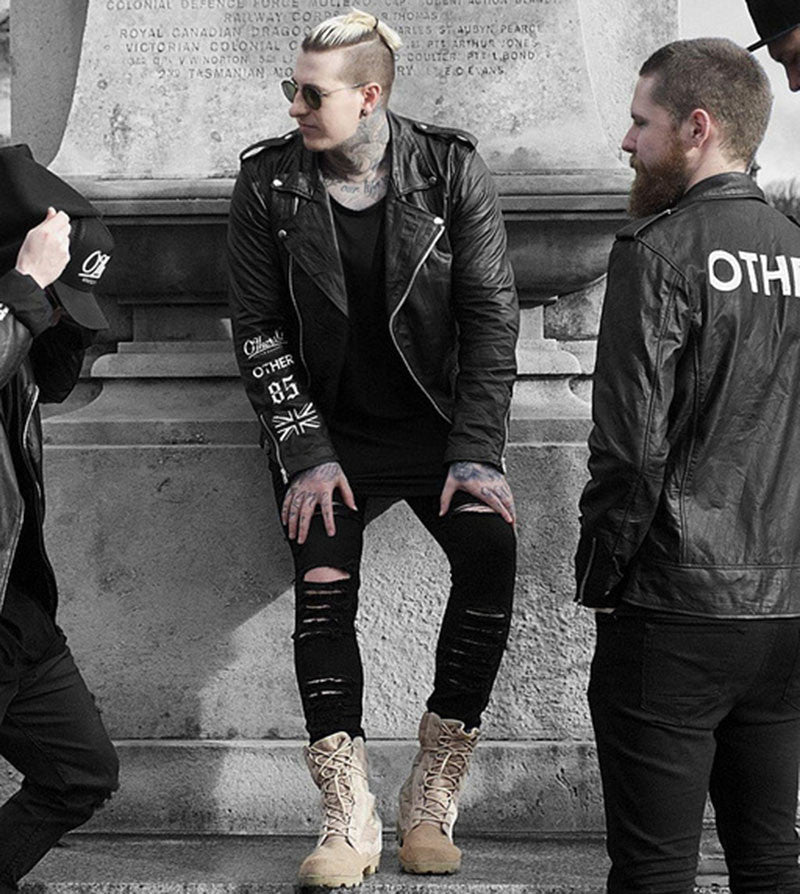 Aelfric Eden Wild Black Jeans Men Personality Ripped Skinny Jeans