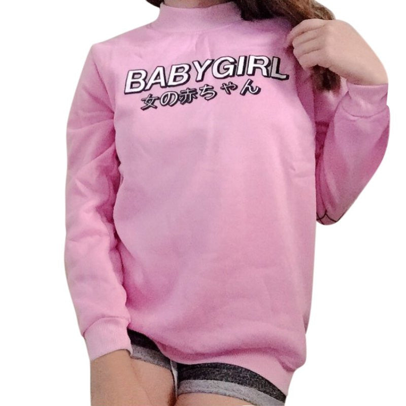autumn women hoodies japanese baby girl print harajuku sweatshirt