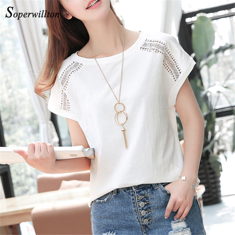 Cotton Summer Blouses Lace Batwing Sleeve Shirts For Womens Tops