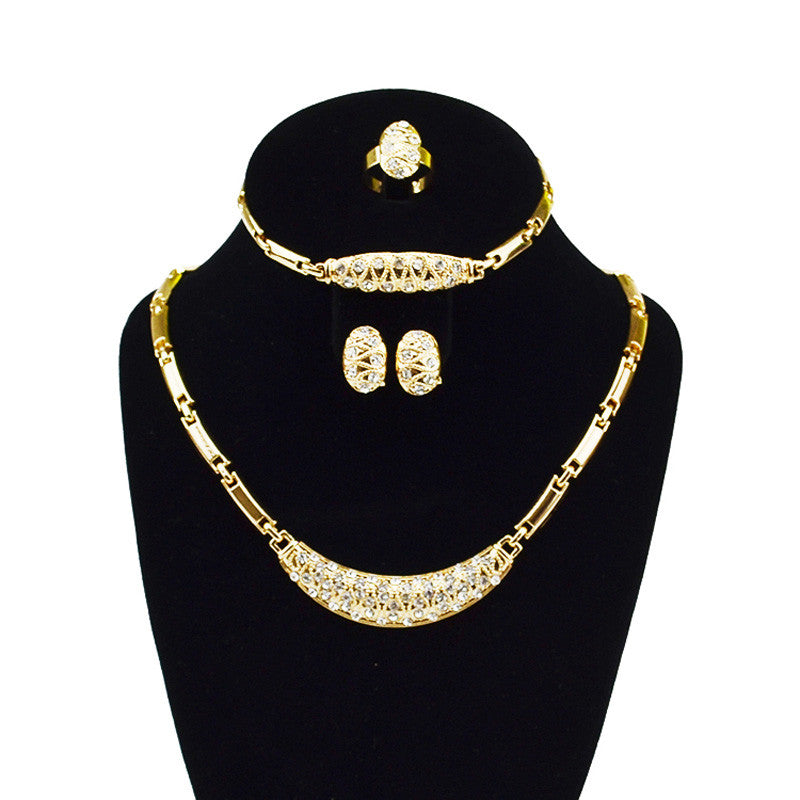 Dubai Gold Color Jewelry Sets Nigerian Wedding African Beads Crystal