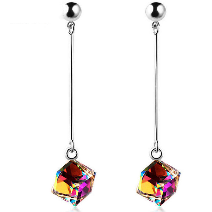 Fashion Fine Jewelry Charm Earrings With Stones Multicolor Simple